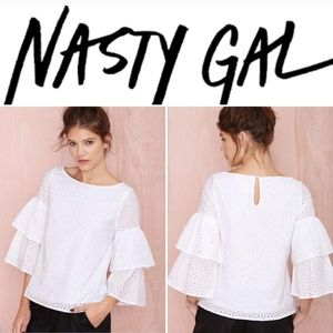 Nasty Gal Ruffle Sleeve Top